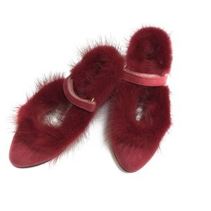 SUEDE RED MINK BALLERINA SHOES WITH VELCRO